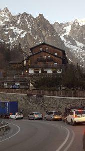 Waiting to drive through Mont Blanc