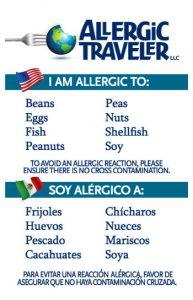Dietary alert cards
