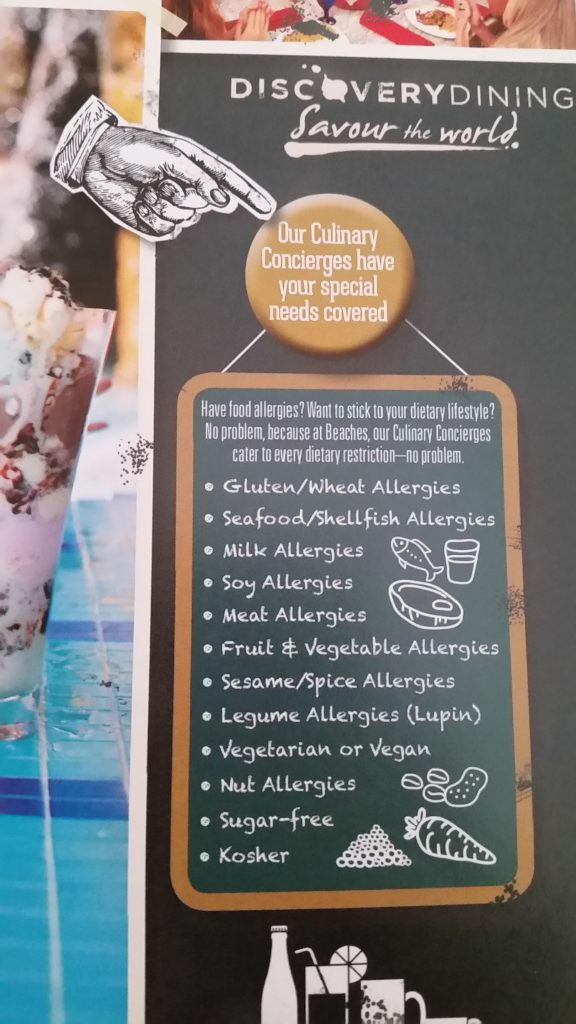 Food allergies at Sandals